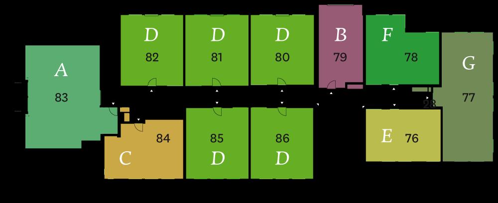 1e verdieping fase 2 plattegrond